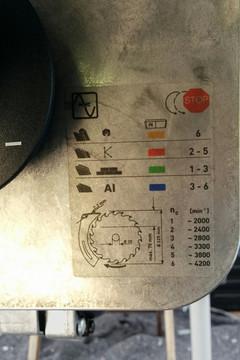 Tabelle der Drehzahlregelungseinstellung der Festool CS 70 EB